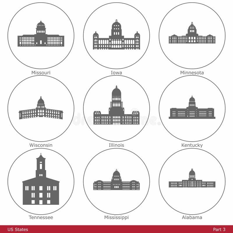 Штаты США - символизированные капитолиями Part3 положения иллюстрация штока