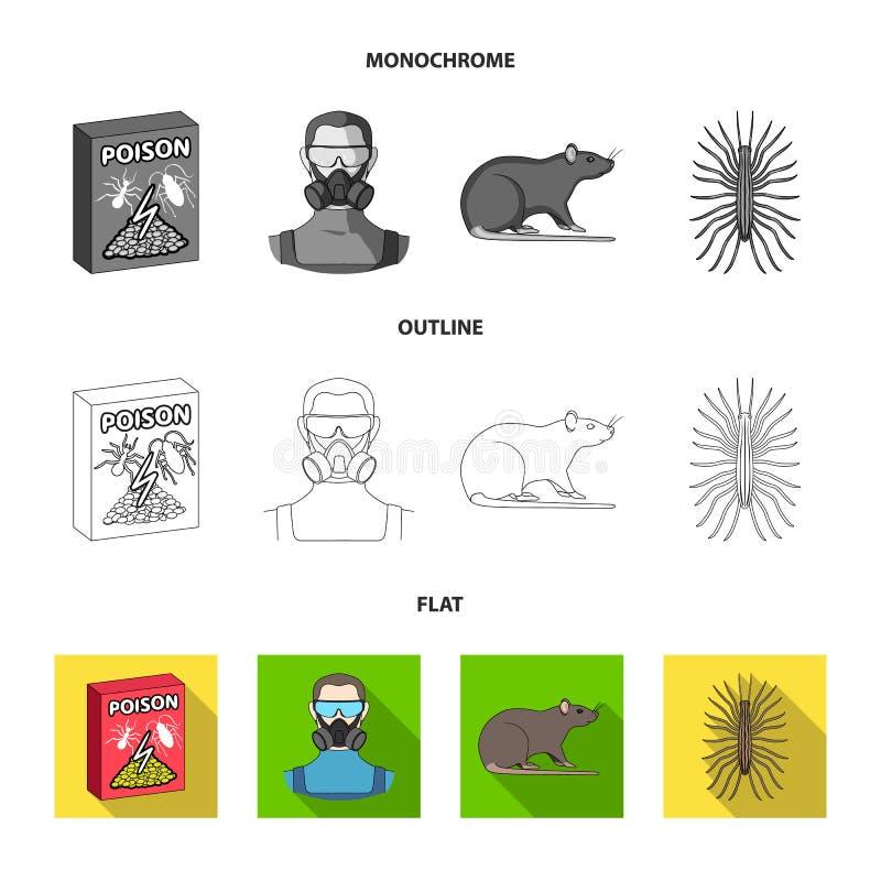 Штат, пакующ с отравой и бичами плоско, план, monochrome значки в собрании комплекта для дизайна Обслуживание службы борьбы с гры иллюстрация штока