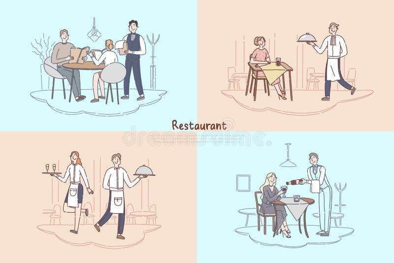 Штат ресторана, официант кафа и сервировка официантки, клиенты делая заказ еды, пару сидя на знамени таблицы кофейни иллюстрация вектора