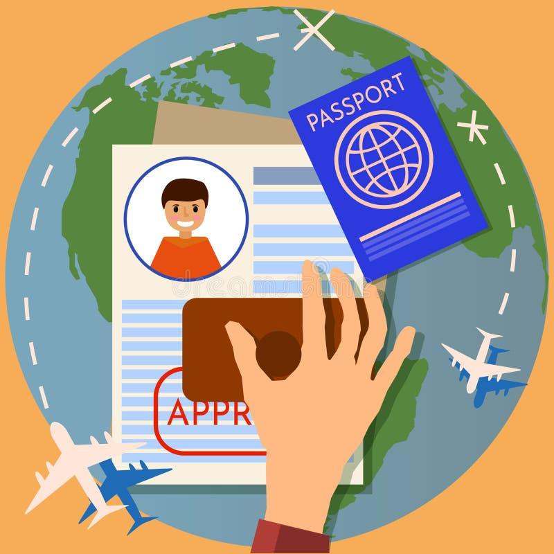 Штемпелевать визы Пасспорт или заявление на выдачу визы Штемпель иммиграции перемещения, иллюстрация вектора иллюстрация штока