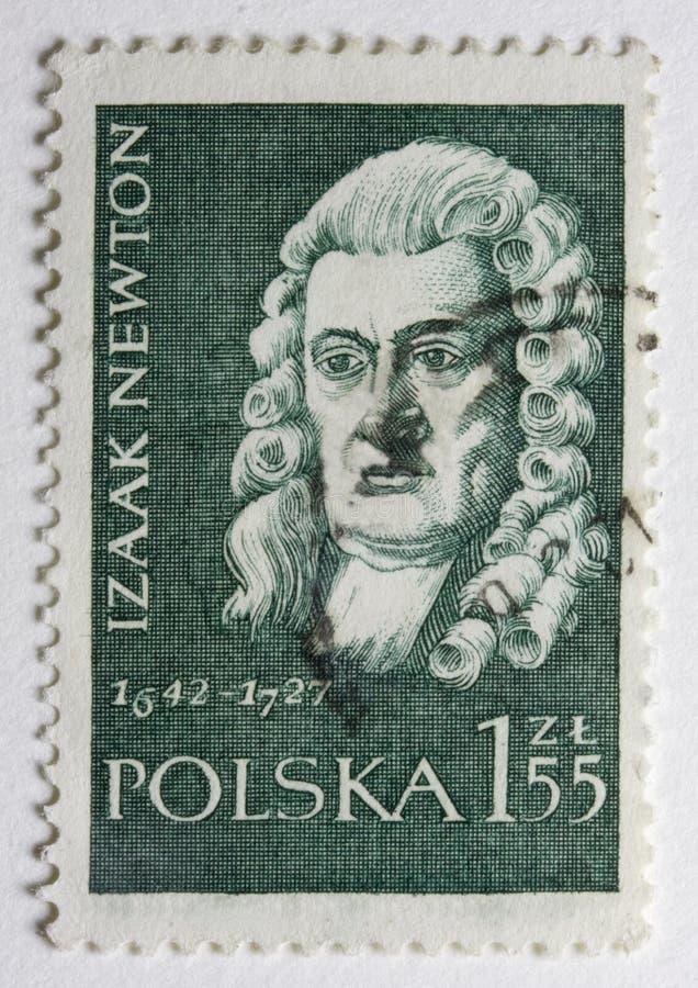 штемпель господина столба портрета Isaac Newton стоковая фотография