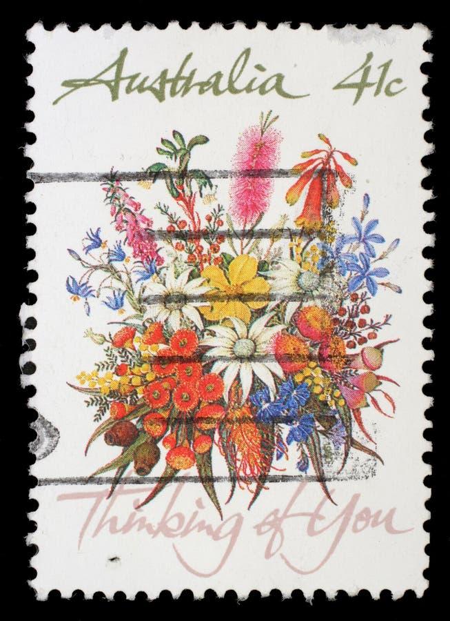 Штемпель напечатанный в Австралии показывает пук цветков стоковые фото