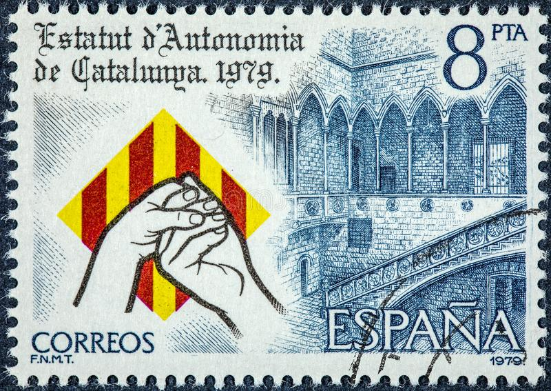 Штемпель напечатанный в Испании показывает законоположение автономии Каталонии стоковое фото rf