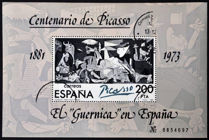 Штемпель напечатанный в Испании показывает картину Pablo p стоковые фото
