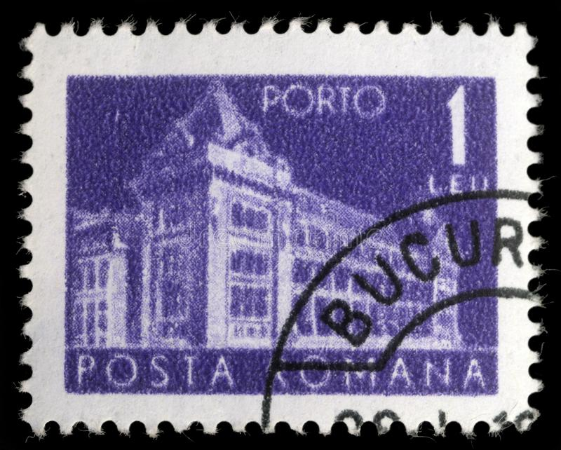 Штемпель напечатанный в Румынии показывает общее почтовое отделение Румынии стоковые изображения rf