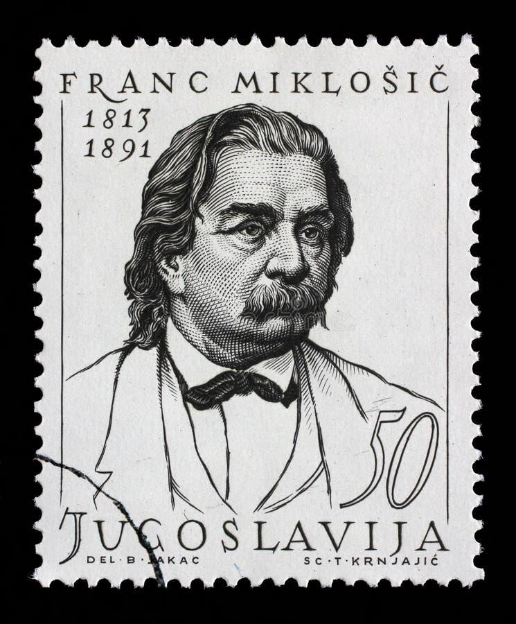 Штемпель напечатанный в Югославии показывает франк Miklosic стоковые фотографии rf