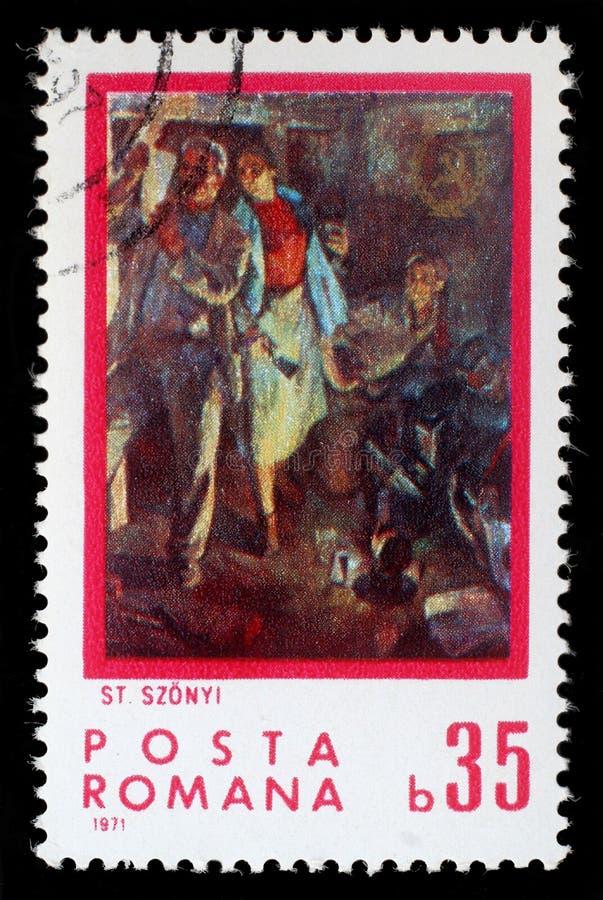 Штемпель напечатанный Румынией, выставки изображает возглашение людей читая, Stefan Szonyi стоковое изображение rf