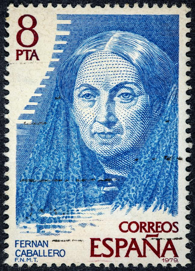 Штемпель напечатанный Caballero Испании Fernan был псевдонимом стоковое фото rf