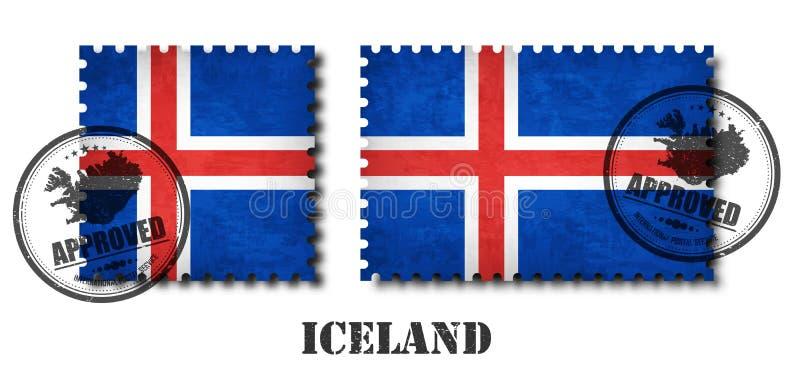Штемпель почтового сбора картины флага Исландии с текстурой царапины grunge старой и прикрепляет уплотнение на изолированной пред бесплатная иллюстрация