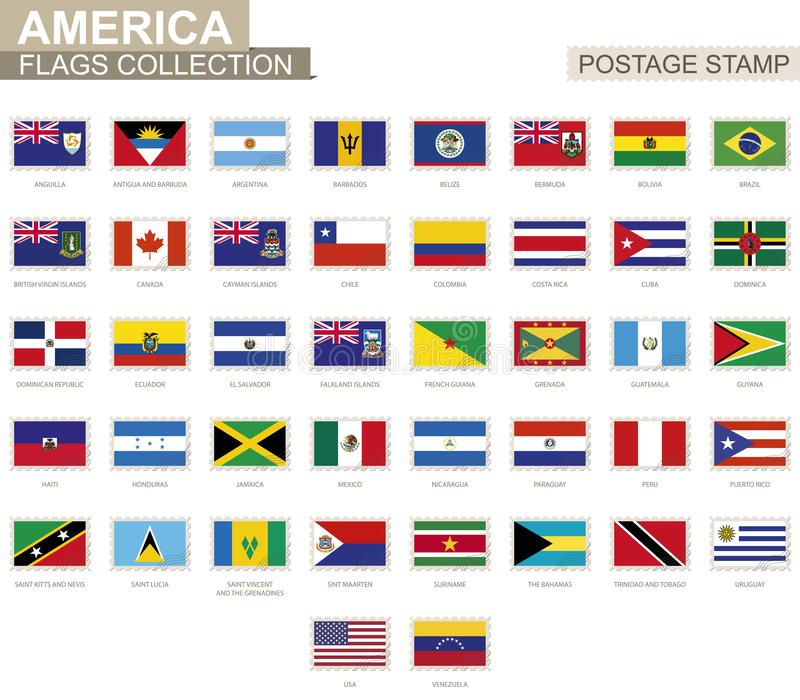 Штемпель почтового сбора с флагами Америки Комплект американского флага 42 бесплатная иллюстрация