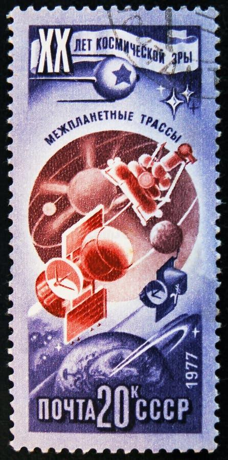 штемпель столба напечатанный в СССР показывает станцию стыковки, около 1977 стоковые фотографии rf