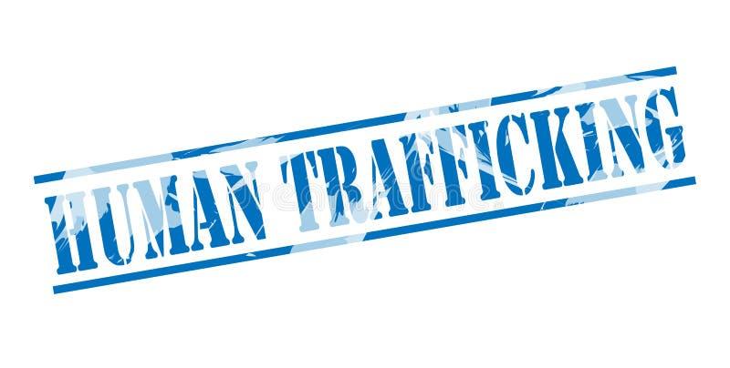Штемпель торговли людьми голубой иллюстрация вектора