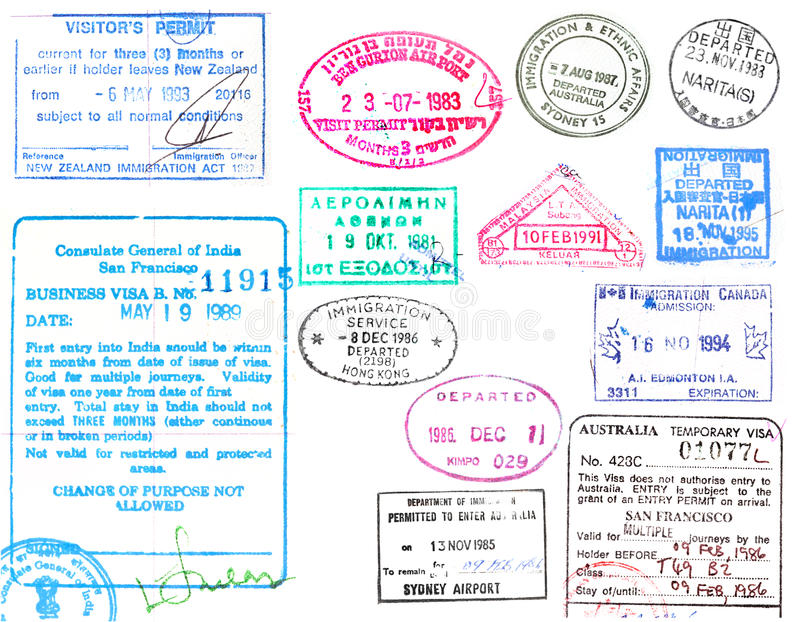 Штемпеля визы и пасспорта бесплатная иллюстрация