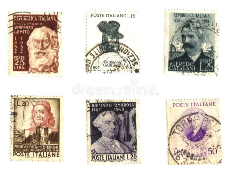 штемпеля известных итальянских людей старые стоковая фотография rf