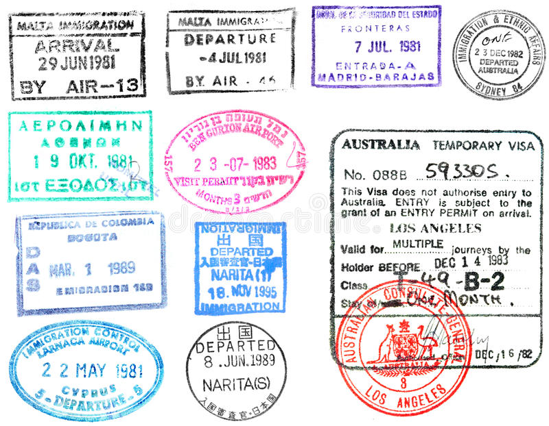 Штемпеля и виза пасспорта