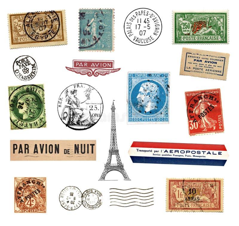 Штемпеля и ярлыки почтоваи оплата от франция стоковая фотография rf