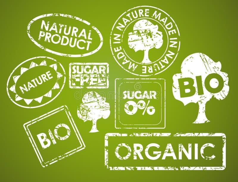 штемпеля комплекта еды органические иллюстрация вектора