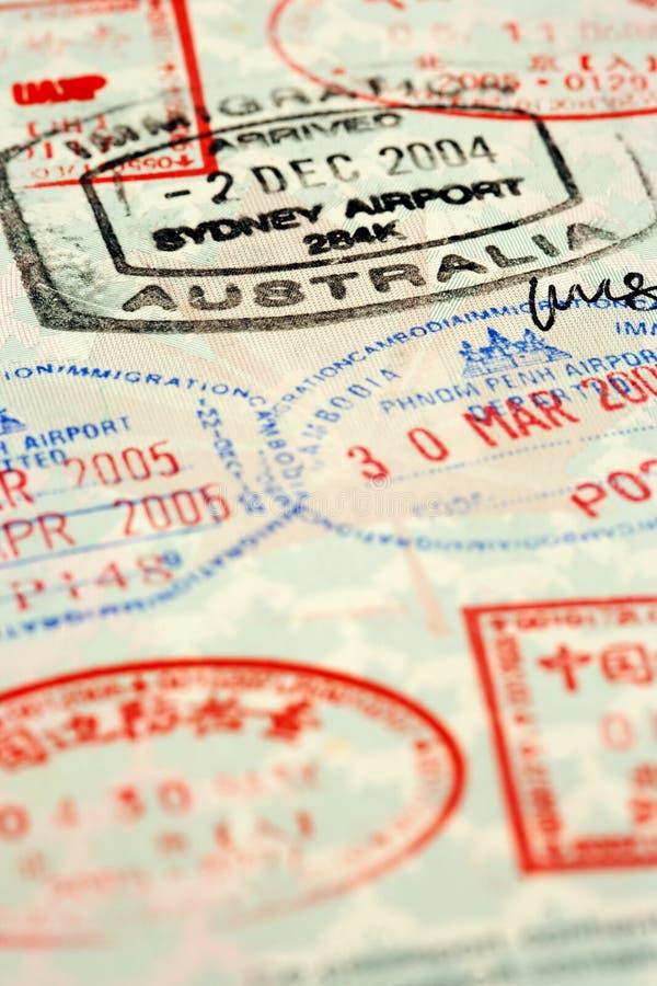 штемпеля пасспорта стоковые изображения