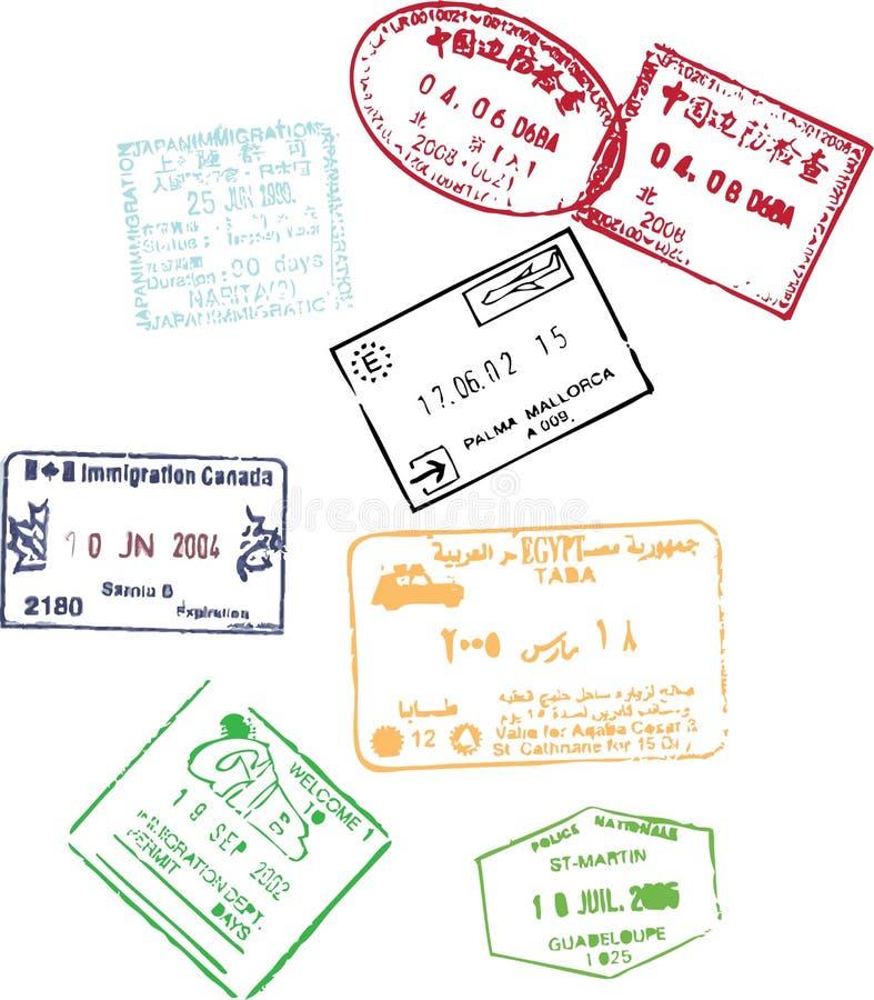 штемпеля пасспорта иллюстрация штока