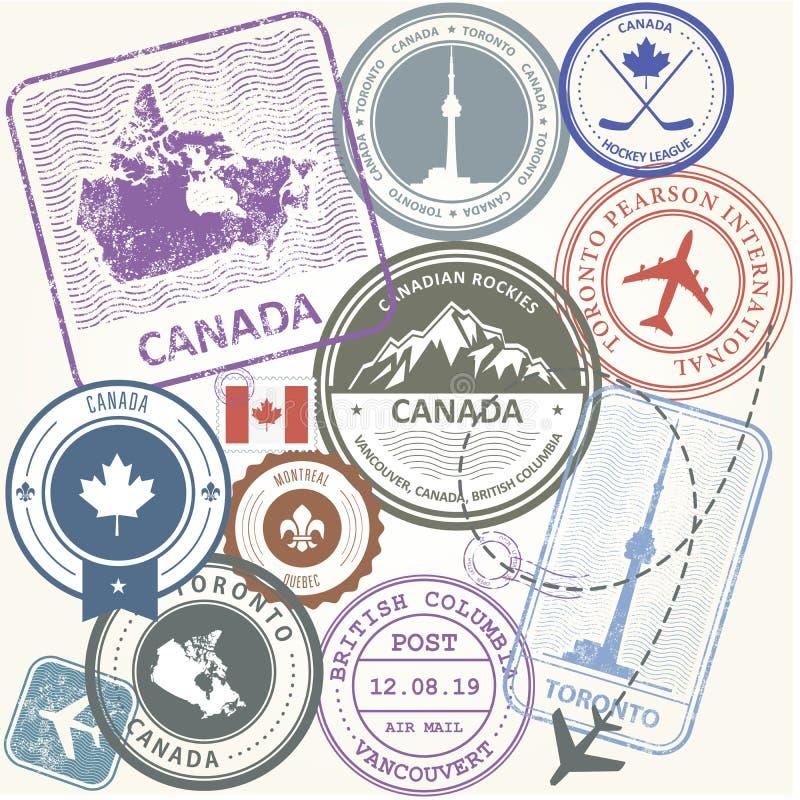Штемпеля перемещения Канады установили - символы путешествием Канады иллюстрация вектора