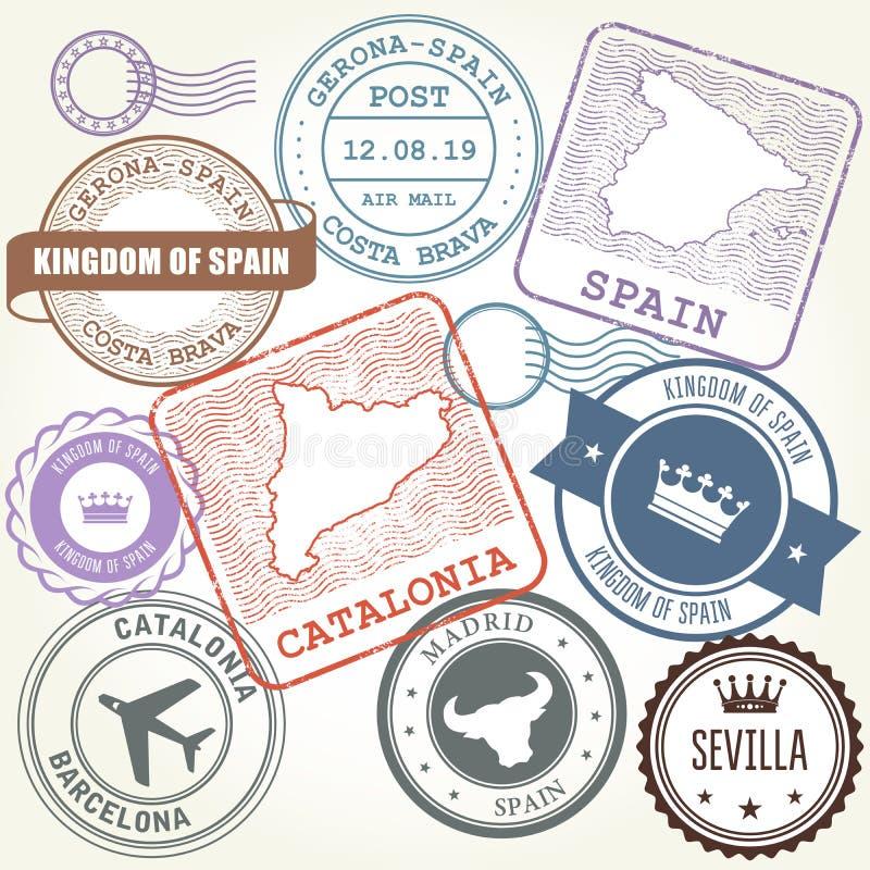 Штемпеля перемещения установили Барселону, Каталонию и Испанию бесплатная иллюстрация
