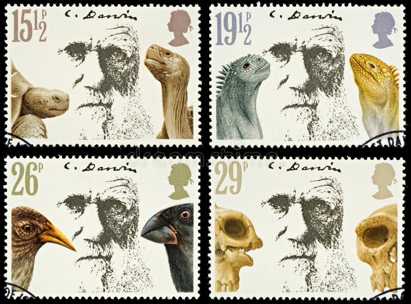 штемпеля почтоваи оплата Британии Чюарлес Даршин стоковое фото rf