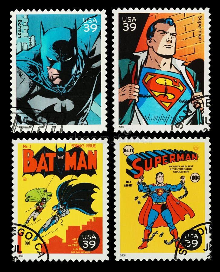 Штемпеля почтоваи оплата супергероев бэтмэн и супермена США стоковая фотография