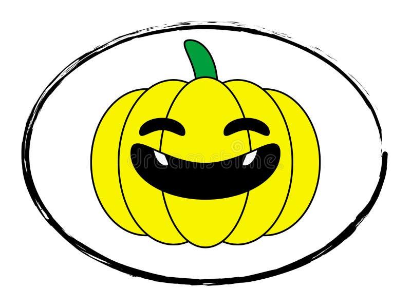 Штемпель желтого цвета тыквы хеллоуина иллюстрация штока