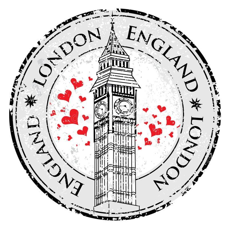 Штемпель Лондон Великобритания сердца влюбленности Grunge, башня большого Бен иллюстрация штока