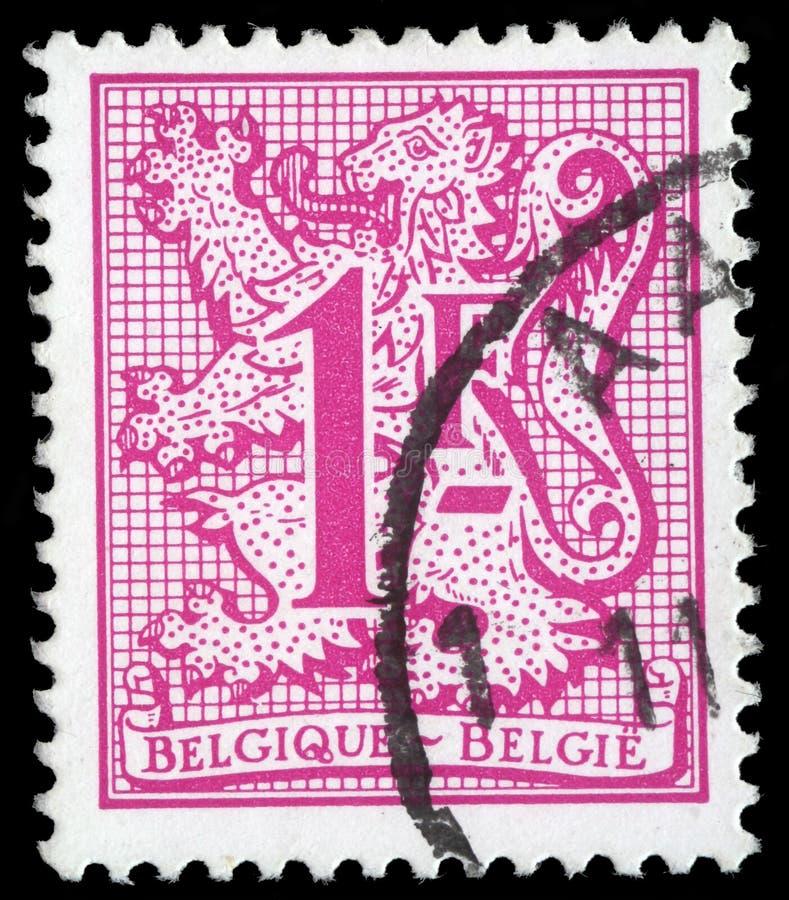 Штемпель напечатанный в изображении выставок БЕЛЬГИИ герба Королества Бельгия стоковые фото