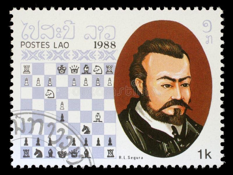 Штемпель напечатанный в Лаосе, выставки r L Segura, чемпион шахмат стоковая фотография