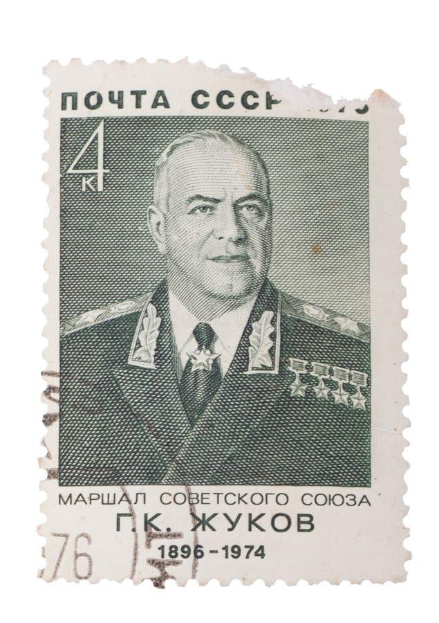 Штемпель напечатанный в СССР России показывает портрет Zhukov, с внутри стоковое фото