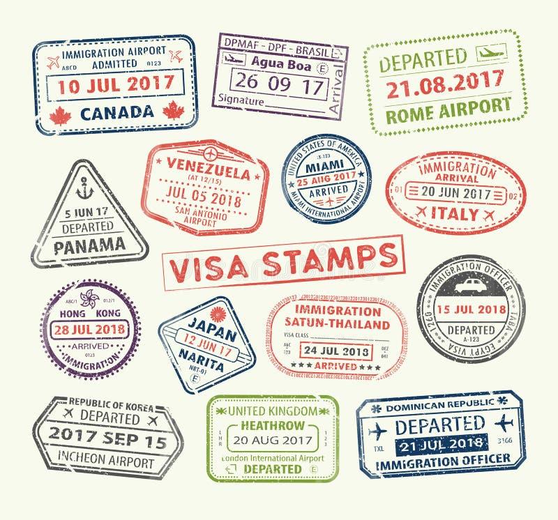Штемпель пасспорта визы иллюстрация вектора
