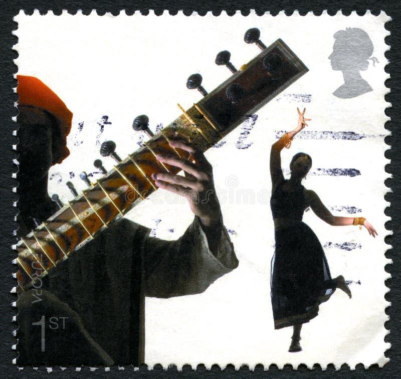 Штемпель почтового сбора Великобритании ситара стоковые изображения