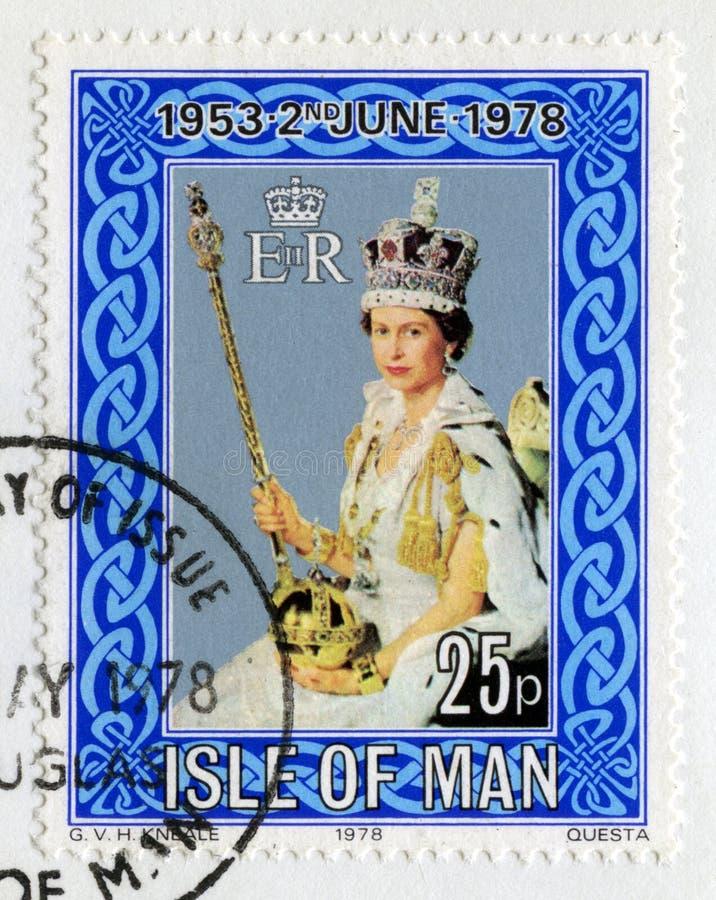 Штемпель почтового сбора празднуя 25th годовщину коронования стоковая фотография rf