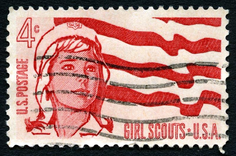 Штемпель почтового сбора США девочка-скаутов стоковое фото