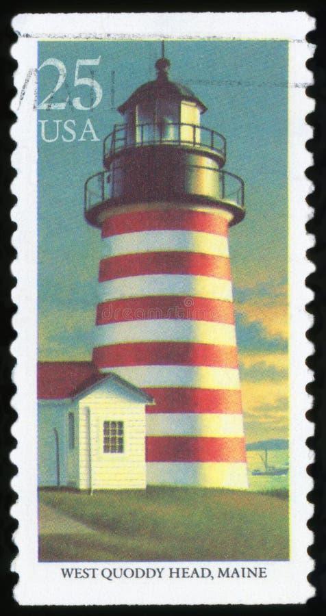 Штемпель почтового сбора США - маяк стоковые изображения rf