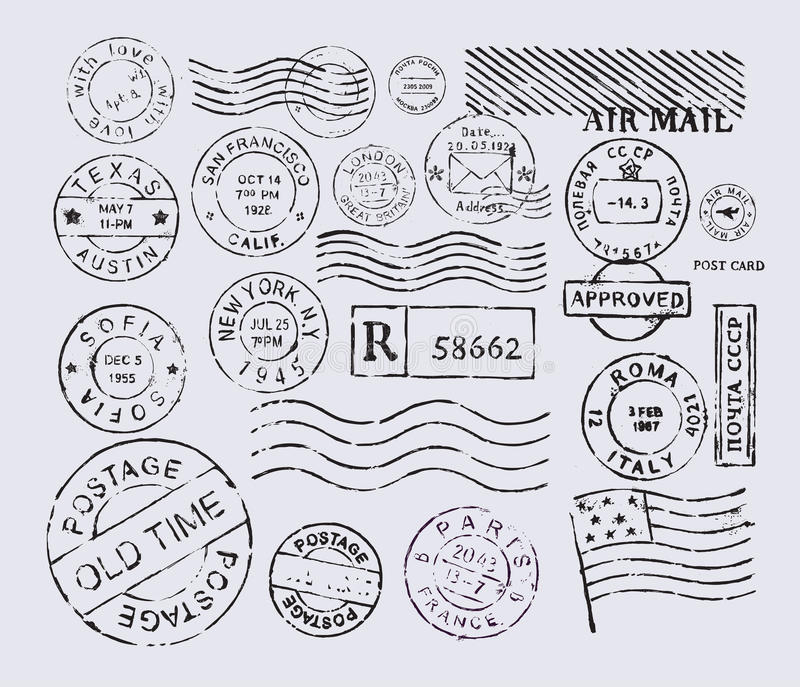 Штемпель почтового сбора иллюстрация штока