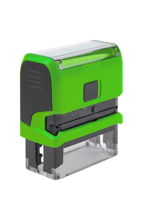 Штемпель руки прямоугольный автоматический, штейновый зеленый цвет стоковая фотография