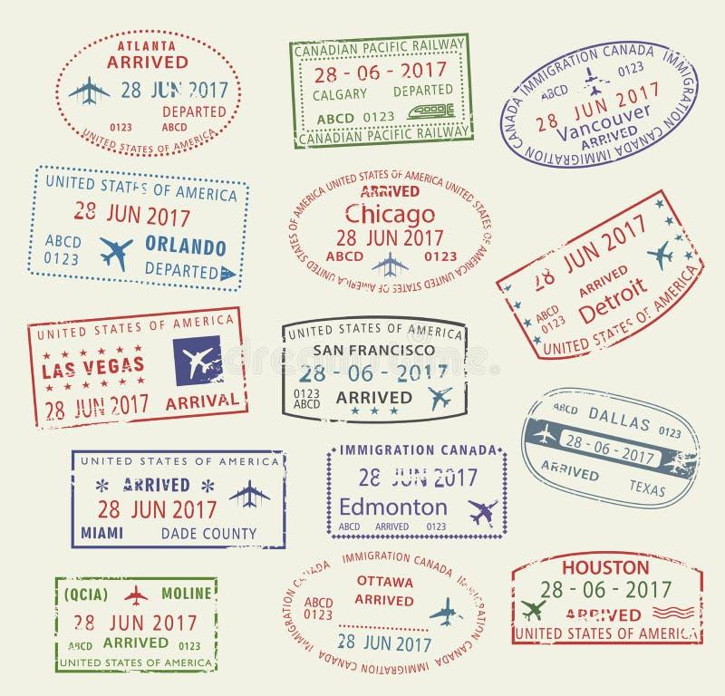 Штемпель США Канада пасспорта города перемещения значков вектора бесплатная иллюстрация
