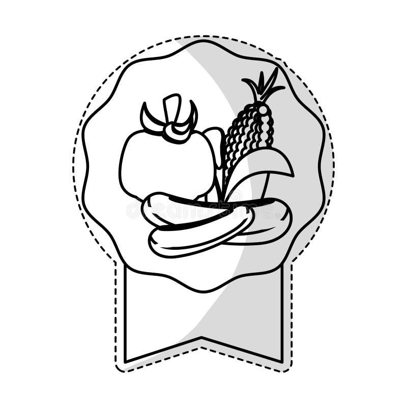 Download Штемпель уплотнения с овощами Иллюстрация вектора - иллюстрации насчитывающей изолировано, чеснок: 81803263