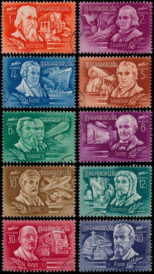 Штемпеля напечатанные Венгрией показывают изобретателей и исследователей стоковое изображение rf