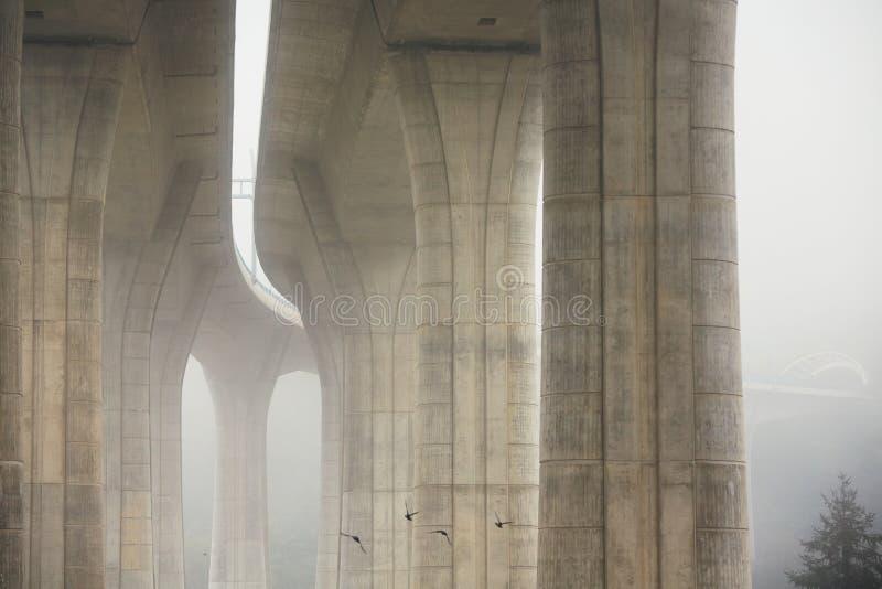 Штендеры автодорожного моста в тумане стоковые фото