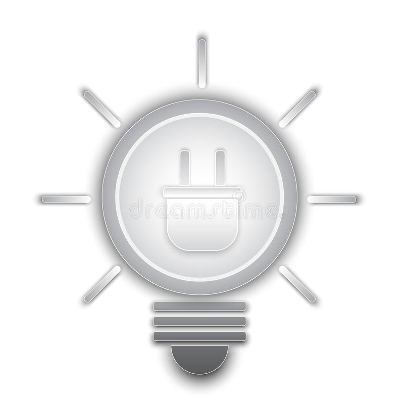 Штепсельная вилка внутри облегчает электрическую лампочку, черно-белый, monotone иллюстрация вектора