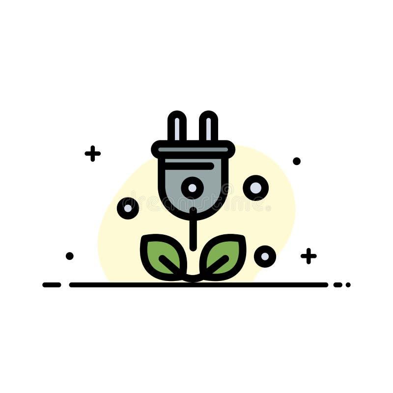 Штепсельная вилка, дерево, зеленый цвет, линия дела науки плоская заполнила шаблон знамени вектора значка иллюстрация штока