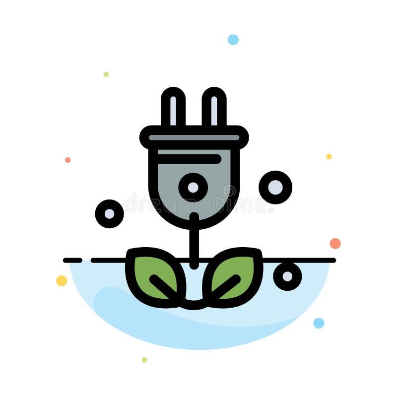Штепсельная вилка, дерево, зеленый цвет, шаблон значка цвета конспекта науки плоский иллюстрация вектора