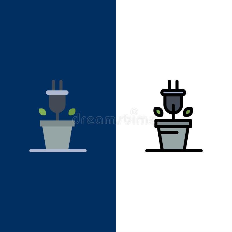 Штепсельная вилка, завод, значки технологии Квартира и линия заполненный значок установили предпосылку вектора голубую бесплатная иллюстрация