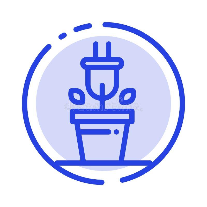 Штепсельная вилка, завод, линия значок голубой пунктирной линии технологии иллюстрация штока