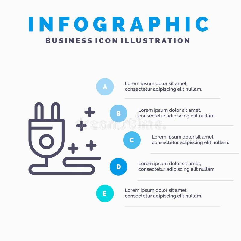 Штепсельная вилка, кабель, выходя на рынок линия значок с предпосылкой infographics представления 5 шагов бесплатная иллюстрация