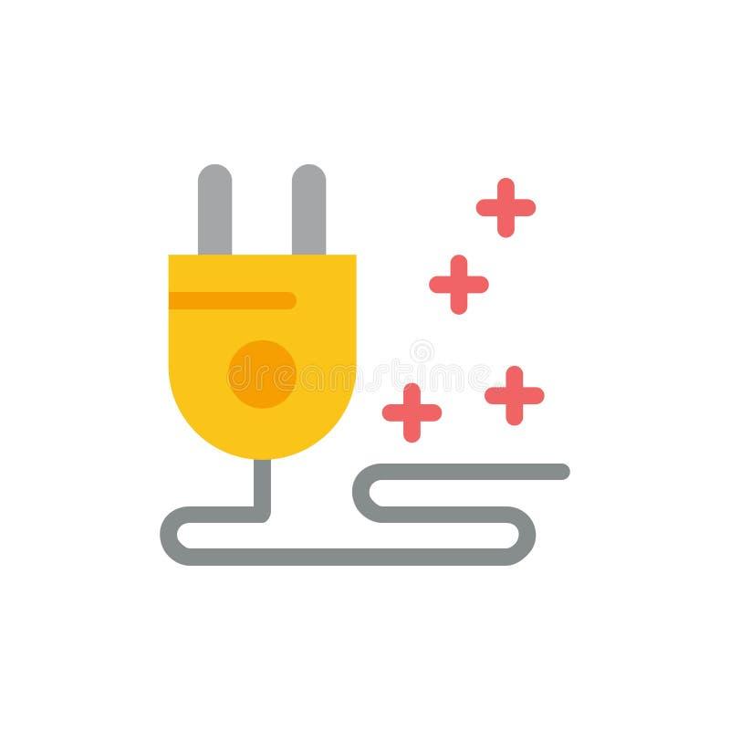 Штепсельная вилка, кабель, выходя на рынок плоский значок цвета Шаблон знамени значка вектора иллюстрация штока